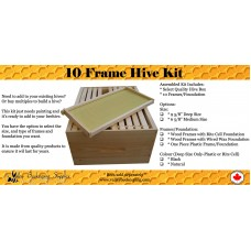 Assembled 10 Frame Deep Hive Kit (With One Piece Plastic Frames)