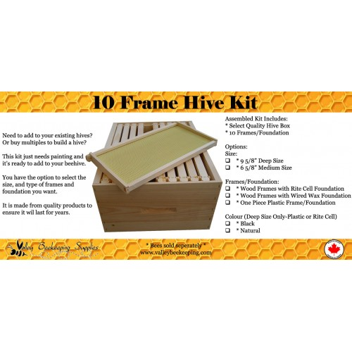 Assembled 10 Frame Medium Hive Kit (With Wood Frames / Wired